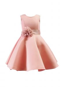 Sinai Kids Big Girls Pink Short Flower Sash Party Dress 8-12