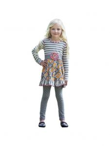 Big Girls Gray Floral Striped Print Leggings Dress 2Pc Outfit 7-14