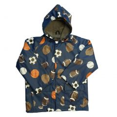 Baby Boys Navy Sports Balls Rain Coat 1T