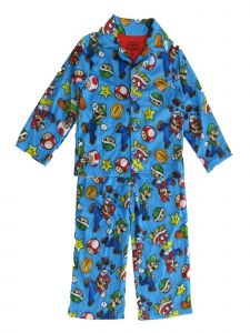 Super Mario Brothers Big Boys Blue Button Up Long Sleeve Pajama 2pc Set 8-10