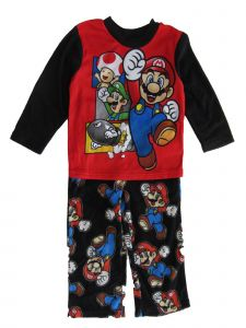 Super Mario Brothers Big Boys Red Black Button Up Long Sleeve Pajama Set 8-10