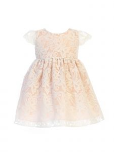 Sweet Kids Baby Girls Blush Embroidered Organza Flower Girl Dress 6-24M
