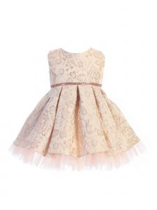 Sweet Kids Baby Girls Blush Pleated Floral Jacquard Easter Dress 6-24M