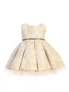 Sweet Kids Baby Girls Champagne Pleated Floral Jacquard Easter Dress 6-24M
