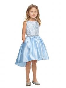 Sweet Kids Girls Multi Color Sequin Lace Hi-Low Satin Pockets Easter Dress 4-16