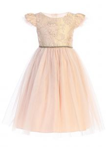 Sweet Kids Big Girls Blush Floral Jacquard Crystal Tulle Easter Dress 7-12