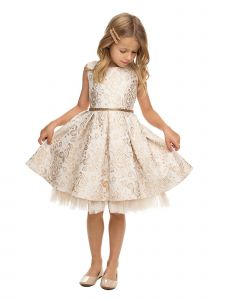 Sweet Kids Girls Multi Color Pleated Floral Jacquard Easter Dress 2-16