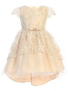 Sweet Kids Big Girls Champagne Floral Lace Peplum Hi-Low Easter Dress 7-12