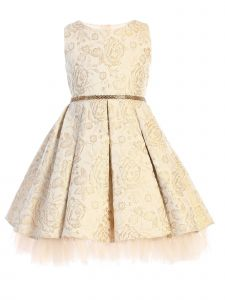 Sweet Kids Little Girls Champagne Pleated Floral Jacquard Easter Dress 6