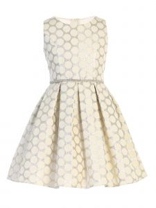 Sweet Kids Little Girls Ivory Polka Dot Pockets Jacquard Easter Dress 2-6