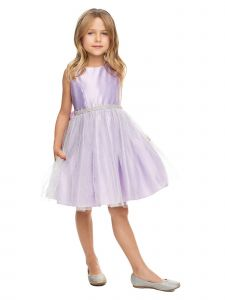 Sweet Kids Girls Multi Color Satin Silver Metallic Tulle Easter Dress 2-12