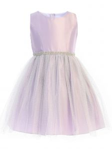 Sweet Kids Little Girls Lavender Satin Silver Metallic Tulle Easter Dress 2-6