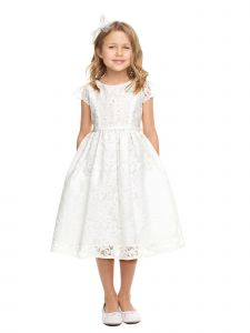 Sweet Kids Little Girls Off-White Embroidered Organza Flower Girl Dress 2-6