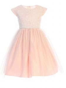 Sweet Kids Big Girls Petal Pink Sequin Lace Pearl Flower Girl Dress 10