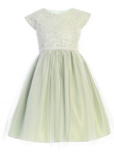 Sweet Kids Big Girls Sage Sequin Lace Pearl Flower Girl Dress 7-12