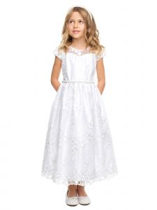 Sweet Kids Baby Girls White Embroidered Lace Crystal Flower Girl Dress 6-24M