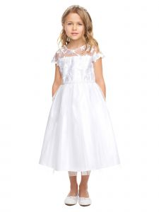 Sweet Kids Big Girls White Floral Embroidered Lace Tulle Communion Dress 6-16