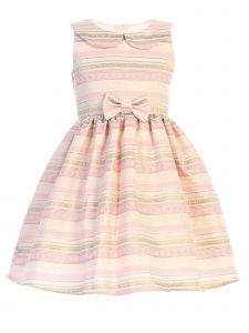Sweet Kids Girls Multi Color Collar Metallic Stripe Jacquard Easter Dress 2-6