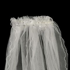"Lito Girls White Organza Flowers Crystal Pearl Special Occasion 24"" Veil"