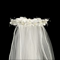 "Lito White Organza Flowers Rhinestone Pearl Accents Special Occasion 24"" Veil"