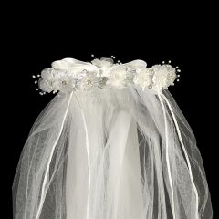 "Lito White Organza Flowers Rhinestone Pearl Satin Bow Special Occasion 24"" Veil"