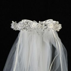 "Lito White Crystal Flower Organza Satin Bow Special Occasion 24"" Veil Tiara"