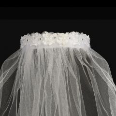 "Lito Girls White Pearl Rhinestone Flowers Special Occasion 18"" Veil Headband"