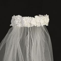 "Lito Girls White Flowers Special Occasion 18"" Veil Bun Wrap"