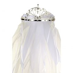 Rain Kids Girls White Rhinestone Double Layer Communion Flower Girl Tiara Veil