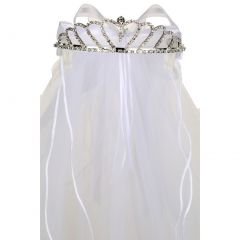Rain Kids Girls White Satin Bow Communion Flower Girl Rhinestone Tiara Veil