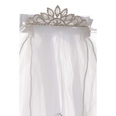 Rain Kids Girls White Rhinestone Cross Communion Flower Girl Tiara Veil