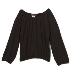 Lori&Jane Girls Black Solid Color Gathered Edges Long Sleeved Top 6-14