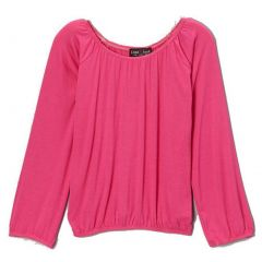 Lori&Jane Girls Fuchsia Solid Color Gathered Edges Long Sleeved Top 6-14