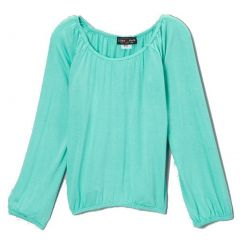 Lori&Jane Girls Aqua Solid Color Gathered Edges Long Sleeved Top 6-14
