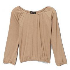 Lori&Jane Girls Taupe Solid Color Gathered Edges Long Sleeved Top 6-14