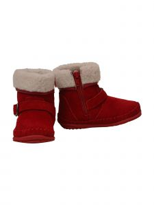Angel Baby Girls Red Suede Faux Fur Fleeced Lining Cuff Aubin Boots 3-4 Baby