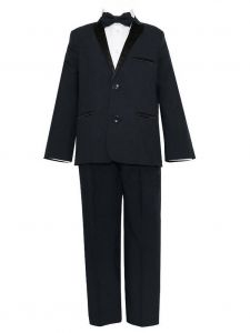 Little Boys Black 4 Pcs Shirt Bow Pants Jacket Slim Fit Tuxedo 2-7