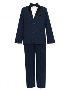 Little Boys Navy Black 4 Pcs Shirt Bow Pants Jacket Slim Fit Tuxedo 2-7