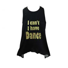 "Reflectionz Big Girls Black Gold ""I can't I have Dance"" Glitter Mesh Tank 8-10"