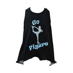 "Reflectionz Little Girls Black Silver ""Go Figure"" Racer Glitter Mesh Tank 4-6"