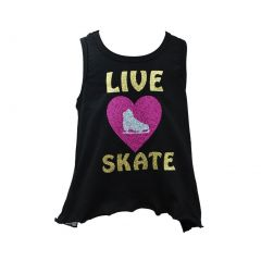 "Reflectionz Little Girls Black Gold ""Live Heart Skate"" Glitter Mesh Tank 4-6"