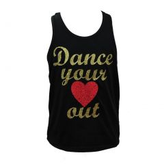 """Reflectionz Big Girls Black """"Dance Your Heart Out"""" Glitter Lace Tank  8-10"""