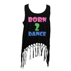 "Reflectionz Big Girls Black ""Born 2 Dance"" Glitter Fringe Tank  8-10"