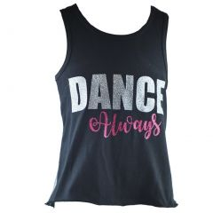 Reflectionz Little Girls Black Silver Dance Always Racer Back Tank Top 4-6
