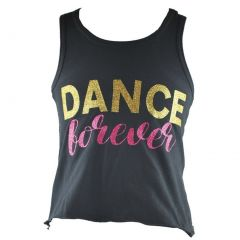 Reflectionz Little Girls Black Gold Dance Forever Racer Back Tank Top 4-6