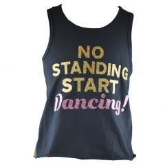 Reflectionz Little Girls Black Gold Start Dancing Racer Back Tank Top 4-6