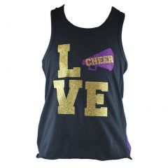 Reflectionz Big Girls Black Purple Love Cheer Racer Back Tank Top 8-12