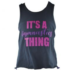 Reflectionz Little Girls Black Purple Glitter Writing Racer Back Tank Top 4-6
