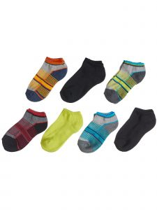 Trimfit Boys Multi Color 7 Pack Athletic Striped Banded Low Cut Socks 5-9