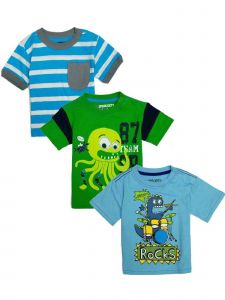 Sprockets Baby Boys Multi Graphic Cotton Short Sleeve 3 Pcs Pack T-Shirt 12-24M